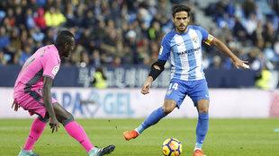 Recio, en un partido con el Málaga.