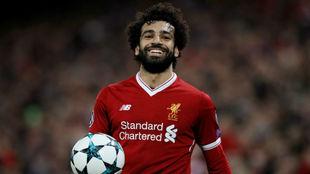 Salah celebra la victoria sobre el Spartak Moscú.