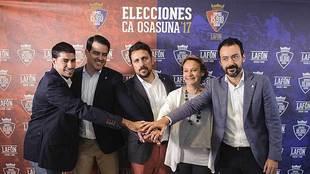 Lafón y su equipo, durante la presentación de la candidatura a las...