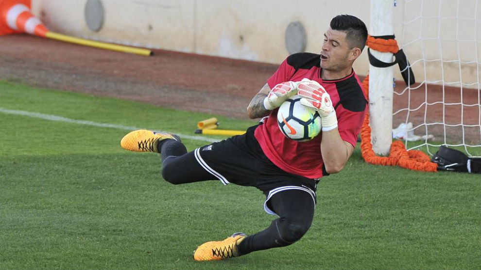 Carvajal, durante un entrenamiento con el Albacete.