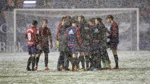 Los jugadores de Osasuna, sobre el césped de El Sadar el día 1 de...