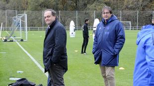 Jokin Aperribay, junto a Loren Juarros en un entrenamiento de la Real...