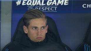 Marcos Llorente, en el banquillo del Bernabéu durante el Real Madrid...