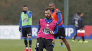 Emre Çolak, durante un entrenamiento del Dépor