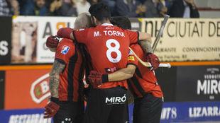 Los jugadores del Reus, durante un partido de la OK Liga frente al...