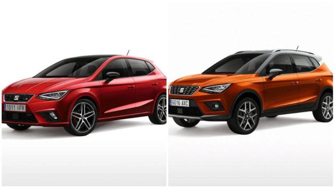 El Seat Ibiza 2017 (izquierda) y el nuevo Arona (derecha).