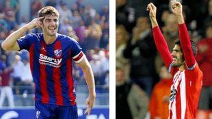 Melero  celebra un gol con el Huesca y Bernardo uno del Lugo de esta...