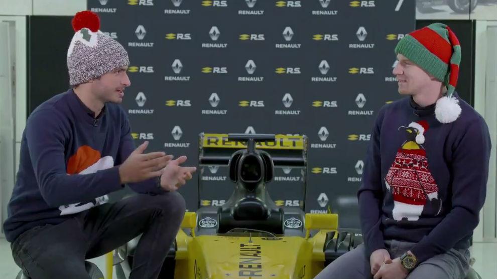 Sainz y Hulkenberg en el mensaje de Navidad de Renault