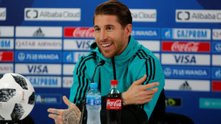 Sergio Ramos habla en rueda de prensa.