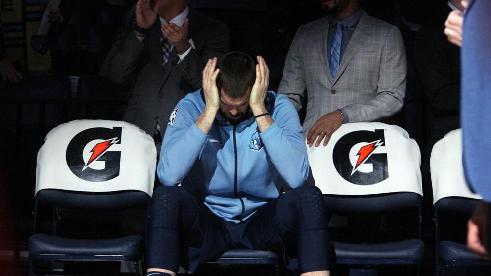 Marc Gasol, concentrado antes del partido