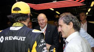 Alain Prost junto a Carlos Sainz y el Rey Juan Carlos, en el pasado GP...