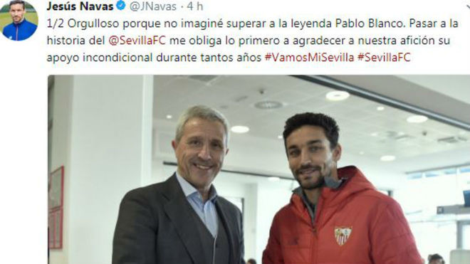 Imagen del twitter de Jesús Navas.