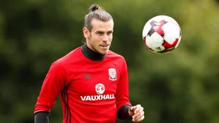Gareth Bale, en un entrenamiento con la selección de Gales