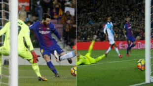 Instante en el que el remate de Messi da en el palo antes del segundo...