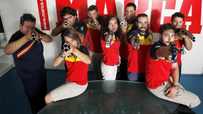 La selección española de tiro olímpico en una foto de archivo