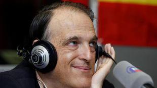 Javier Tebas durante una victoria a Radio MARCA en 2014