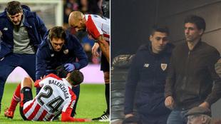 Balenziaga, lesionado ante la Real; Kepa, en el palco.