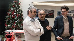 Arrivabene, Marrchionne y Binotto, en la comida de Navidad de Ferrari