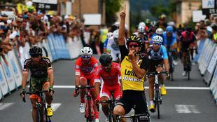Juanjo Lobato, en su triunfo de etapa del Tour de L'Ain, en...
