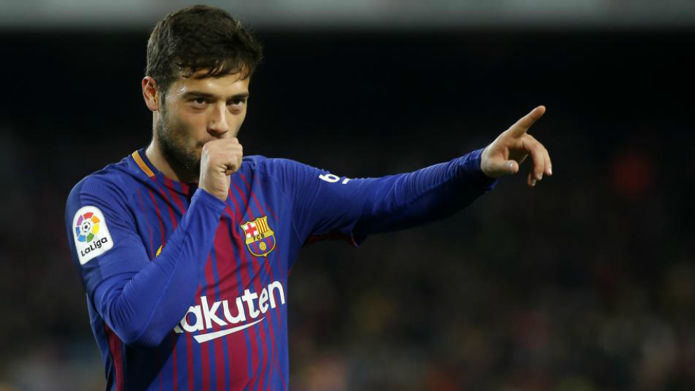 Arnaiz celebra un gol con el Barça.