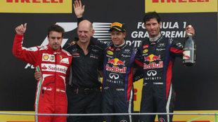 Alonso, Newey, Vettel y Webber, en 2013.