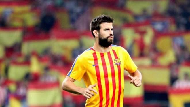 Piqué, en un partido con el Barcelona en el Metropolitano