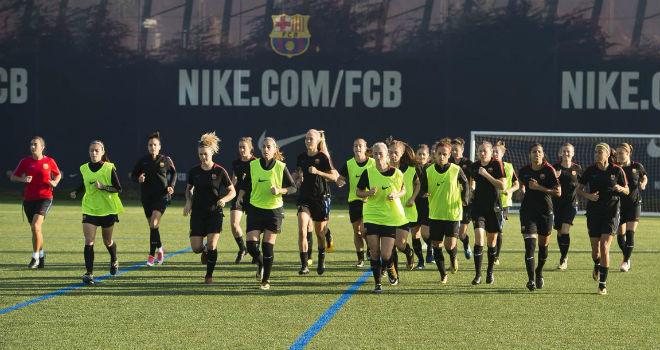 Las jugadoras del Barcelona durante un entrenamiento.