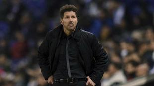 Simeone, durante le duelo contra el Espanyol.
