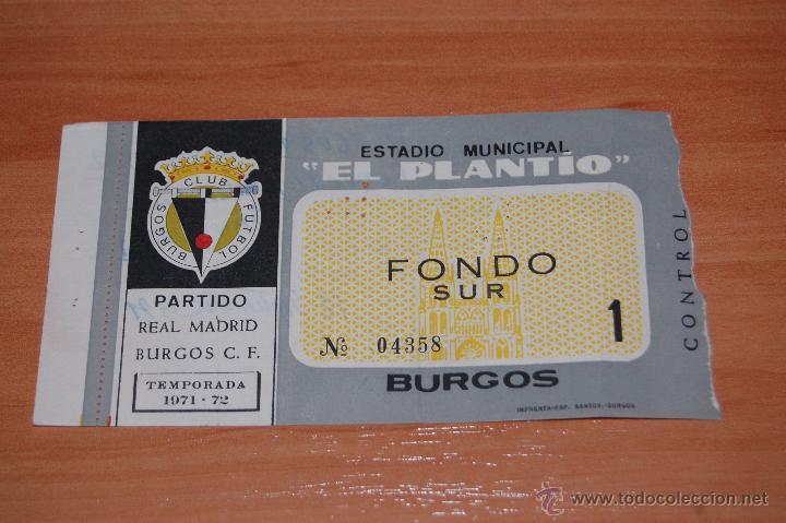 Entrada de un partido entre el Burgos CF y el Real Madrid en la...