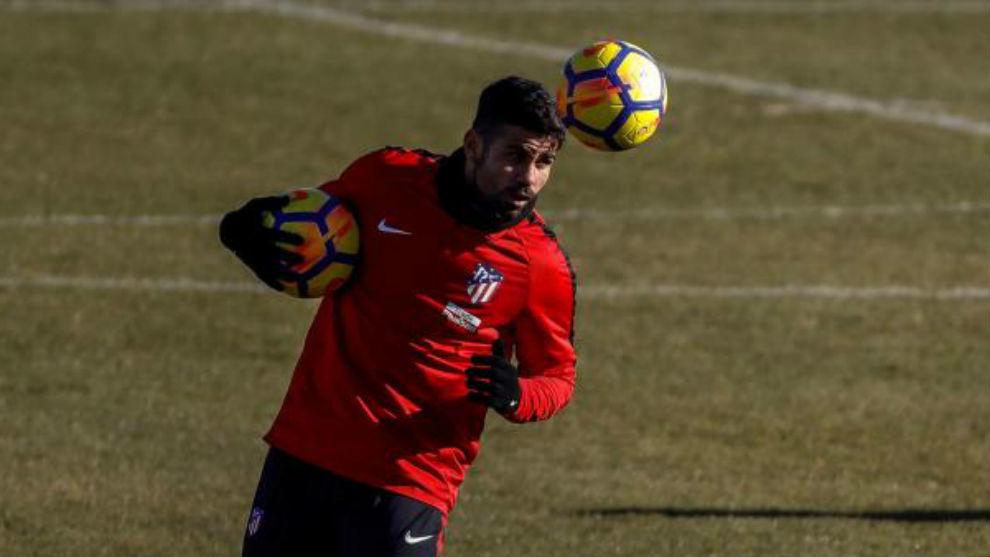 Costa, en un entrenamiento en el Cerro del Espino