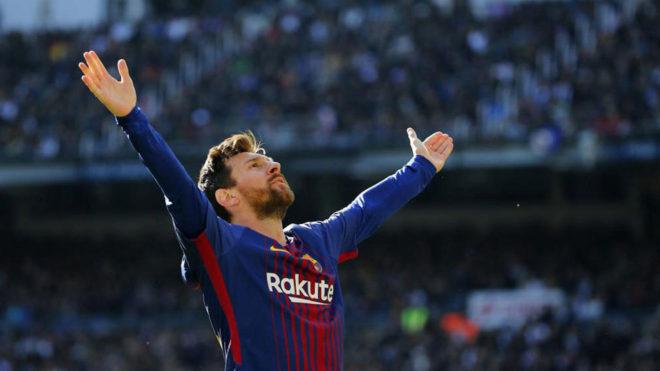 Leo Messi su gol frente al Real Madrid en el Santiago Bernabéu.