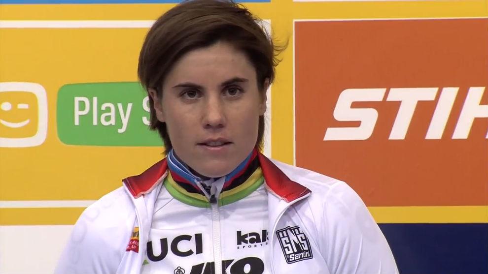 Sanne Cant en el podio de Heusden-Zolder.