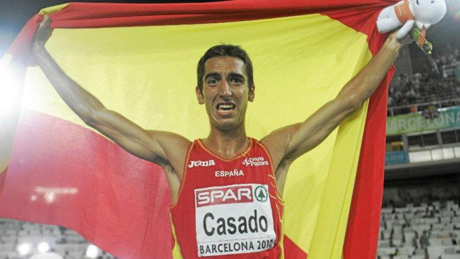 Arturo Casado tras ganar el oro en Barcelona 2010.