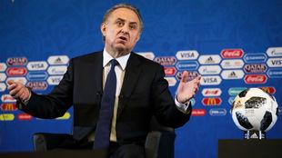Mutko, durante una rueda de prensa del Mundial 2018 en el Kremlin.