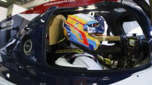 Fernando Alonso, probando el Ligier de Daytona en MotorLand el pasado...