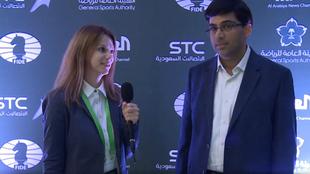 Anand, entrevistado durante el Mundial