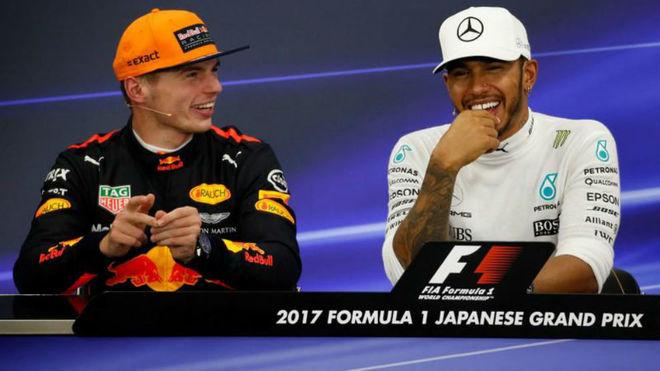 Verstappen y Hamilton en el GP de Japón