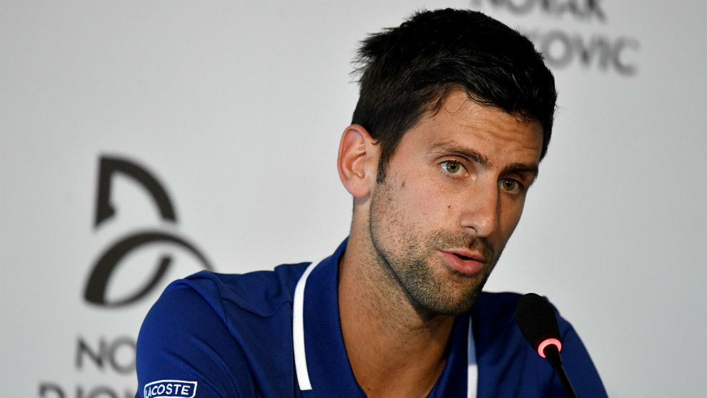 Novak Djokovic durante una rueda de prensa.