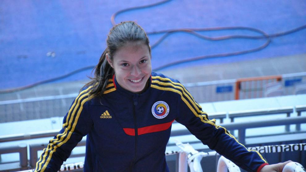 Stefania Vatafu durante una concentración con la selección rumana.