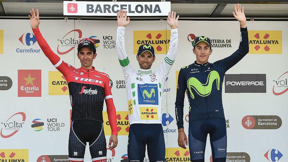 El podio de la Volta 2017: Valverde, Contador y Soler.