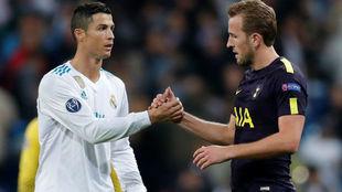 Cristiano Ronaldo y Harry Kane, en el partido de Champions jugado en...