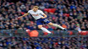 Harry Kane, del Tottenham Hotspur, durante el partido con el Stoke...