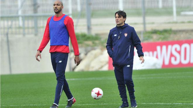 Montella y N'Zonzi, en un entrenamiento.