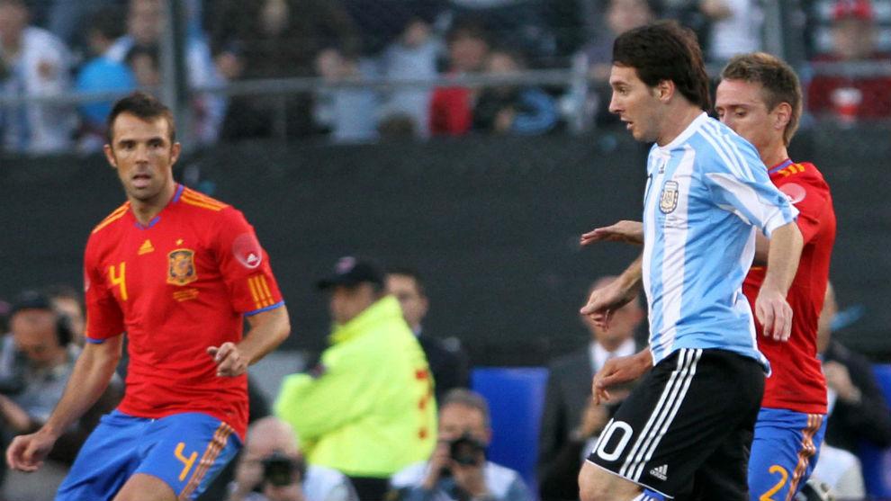Messi, contra España en el 4-1 de 2010.