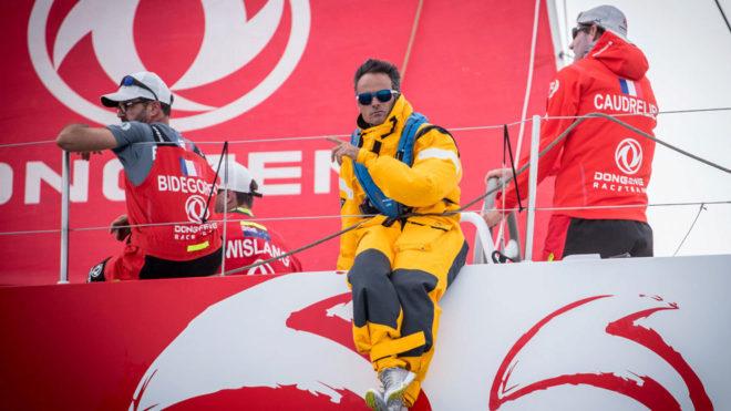Frank Cammas, a bordo del Dongfeng en Alicante