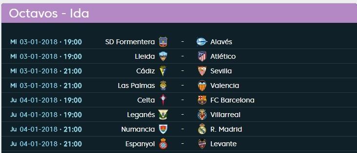 Calendario Copa del Rey 2018: Octavos de final de la Copa ...