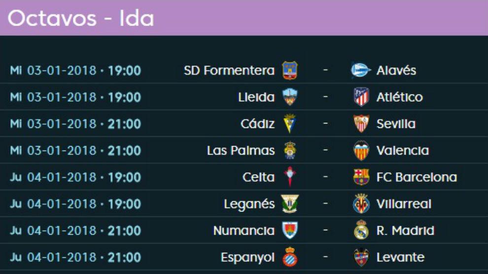 Calendario copa del rey 2018 octavos de final de la copa Horario de partidos de hoy