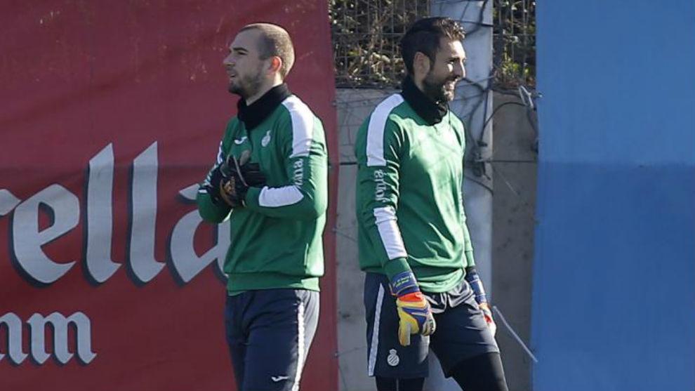 Pau y Diego López, durante un entrenamiento.