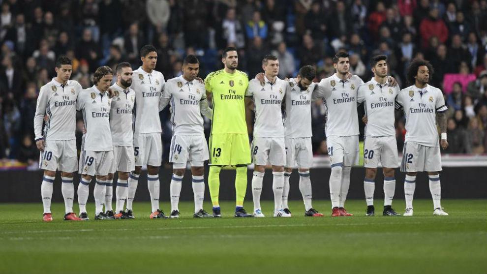 El once del Madrid en el partido de la ida de la Copa ante el Sevilla...