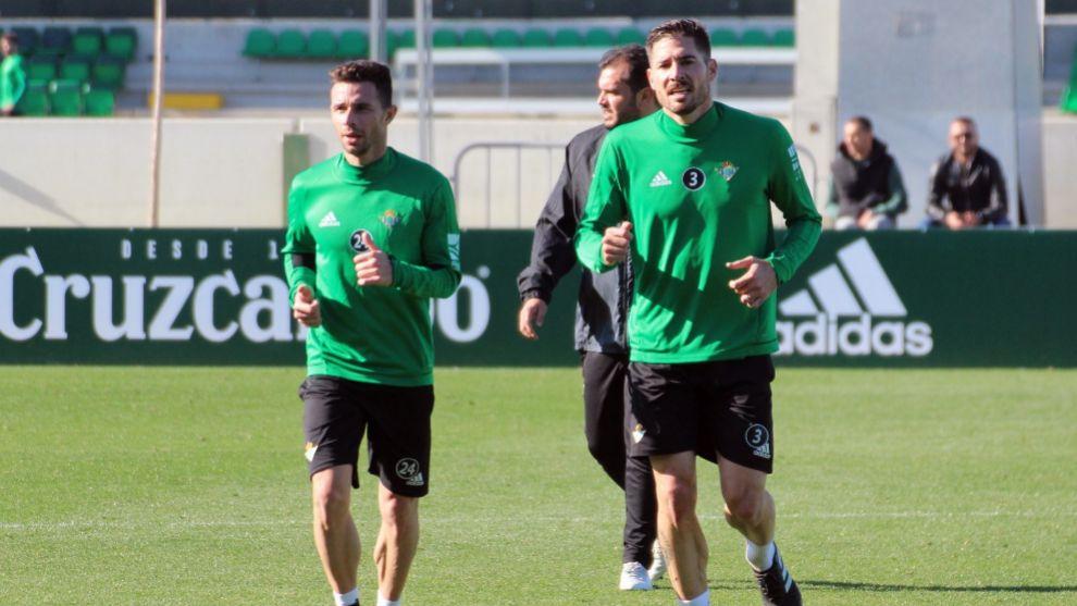 Rubén y Javi, entrenándose ayer